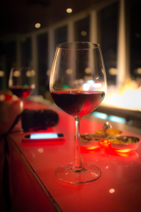 Wine Glass at Red Sky Bar in Bangkok