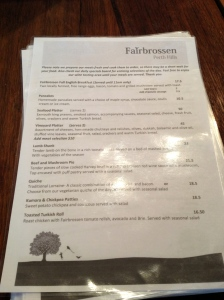 Fairbrossen Estate cafe menu peth hills lunch